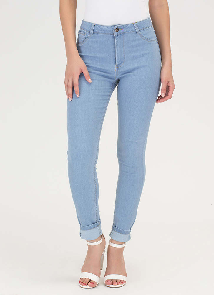 Curve Appeal High-Waisted Skinny Jeans LTBLUE
