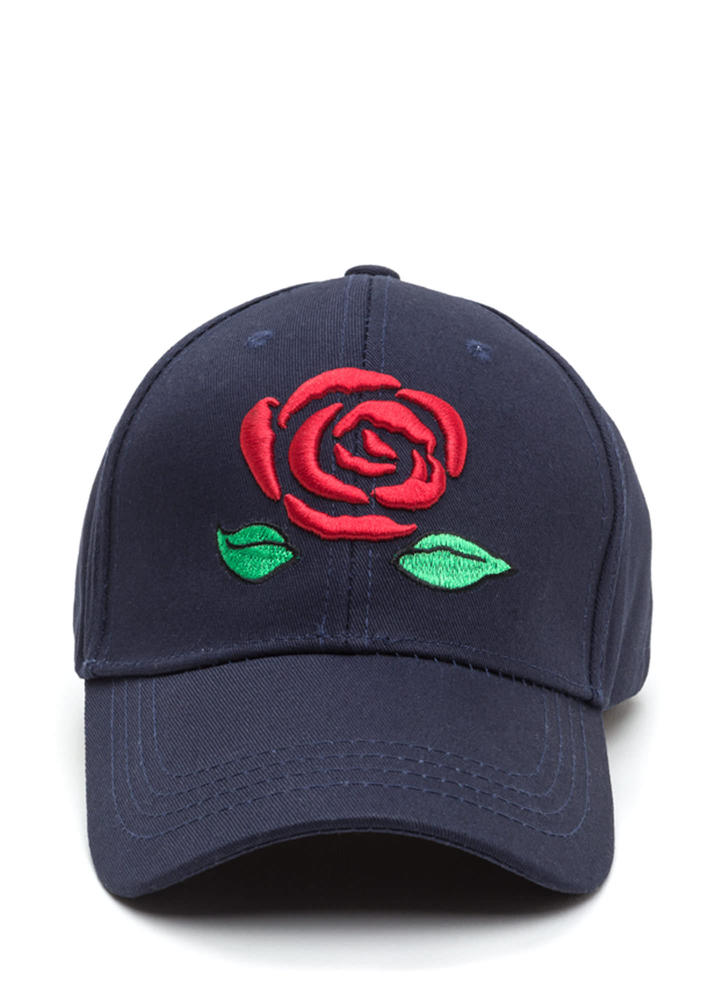 Rosy View Embroidered Baseball Hat NAVY