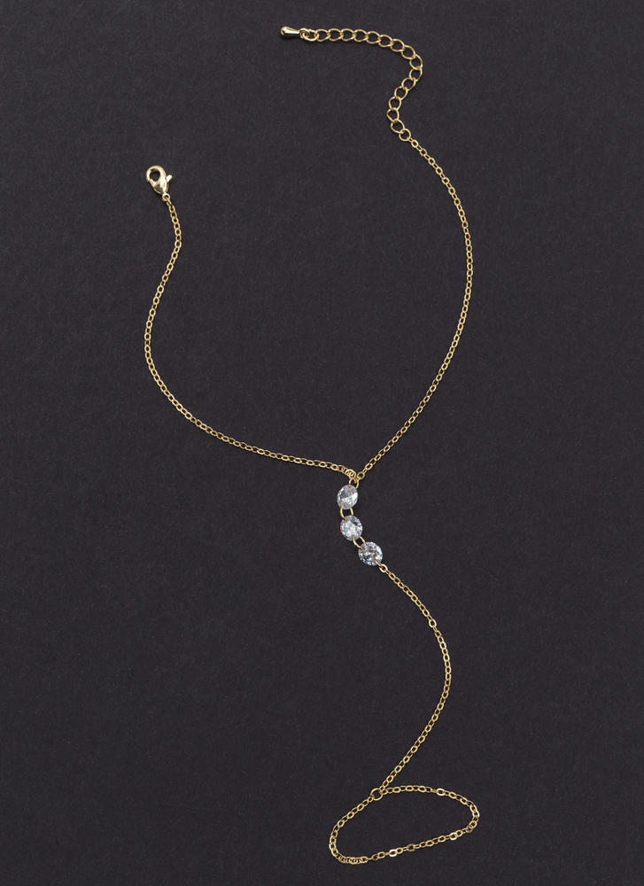 Keep It Simple Jeweled Chain Anklet GOLD