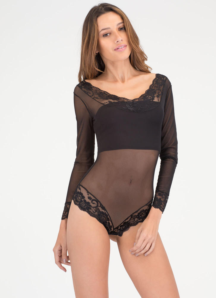 Romantic Evening Sheer Lace Bodysuit BLACK