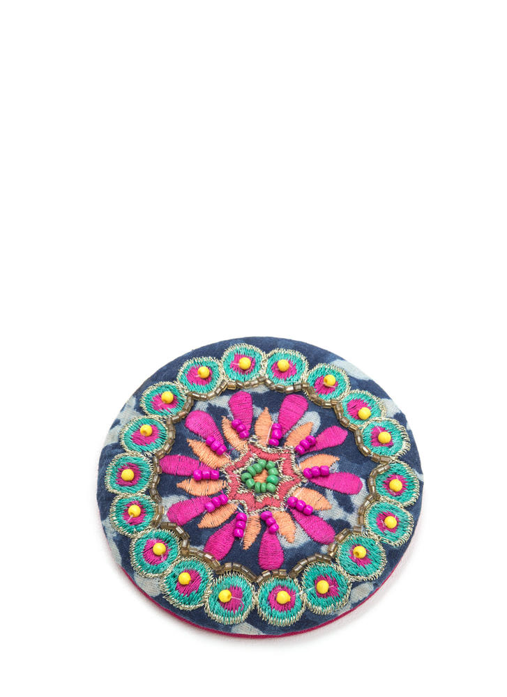 Reflect On It Embroidered Compact Mirror NAVYMULTI