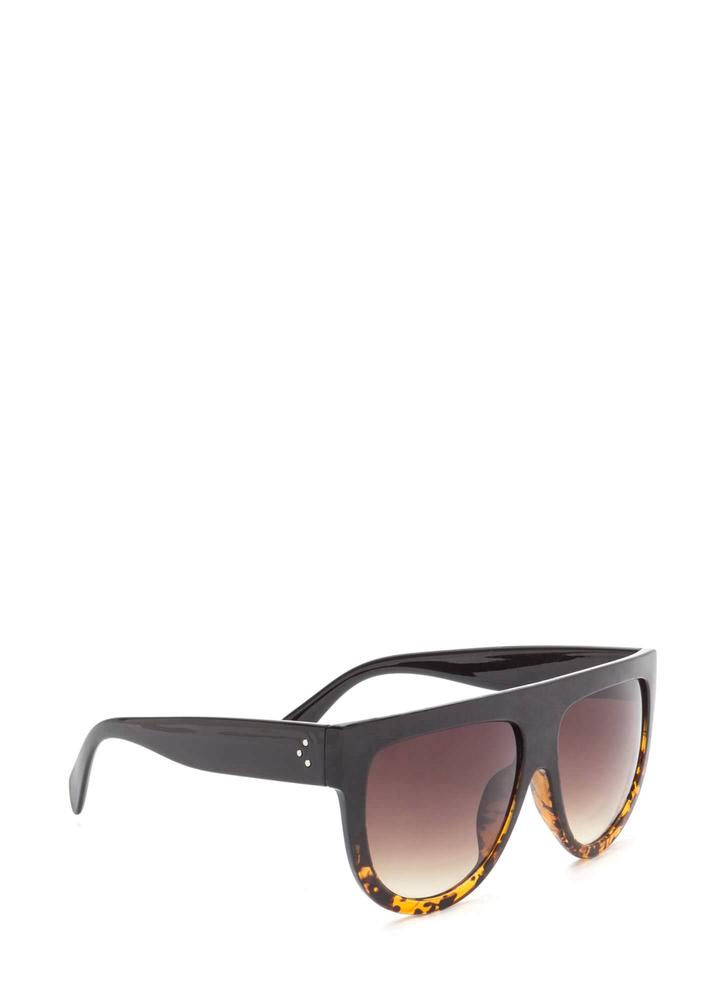 Digging It Thick Flat-Top Sunglasses BLACKBROWN