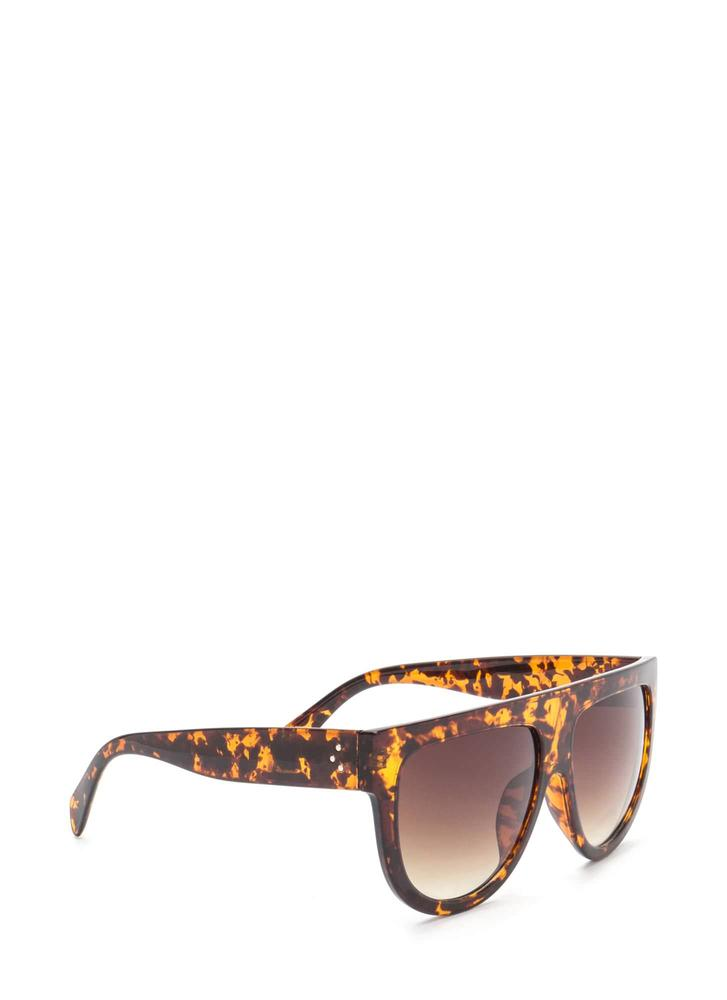 Digging It Thick Flat-Top Sunglasses BROWN