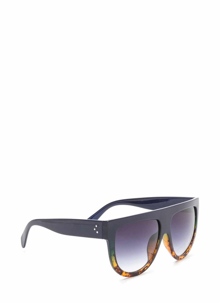 Digging It Thick Flat-Top Sunglasses NAVYBROWN