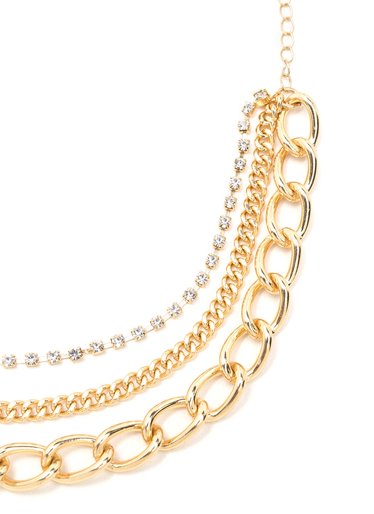 Feet First Chain 'N Faux Jewel Anklet GOLD