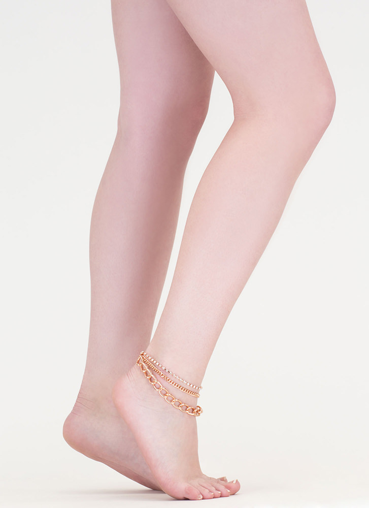 Feet First Chain 'N Faux Jewel Anklet ROSEGOLD