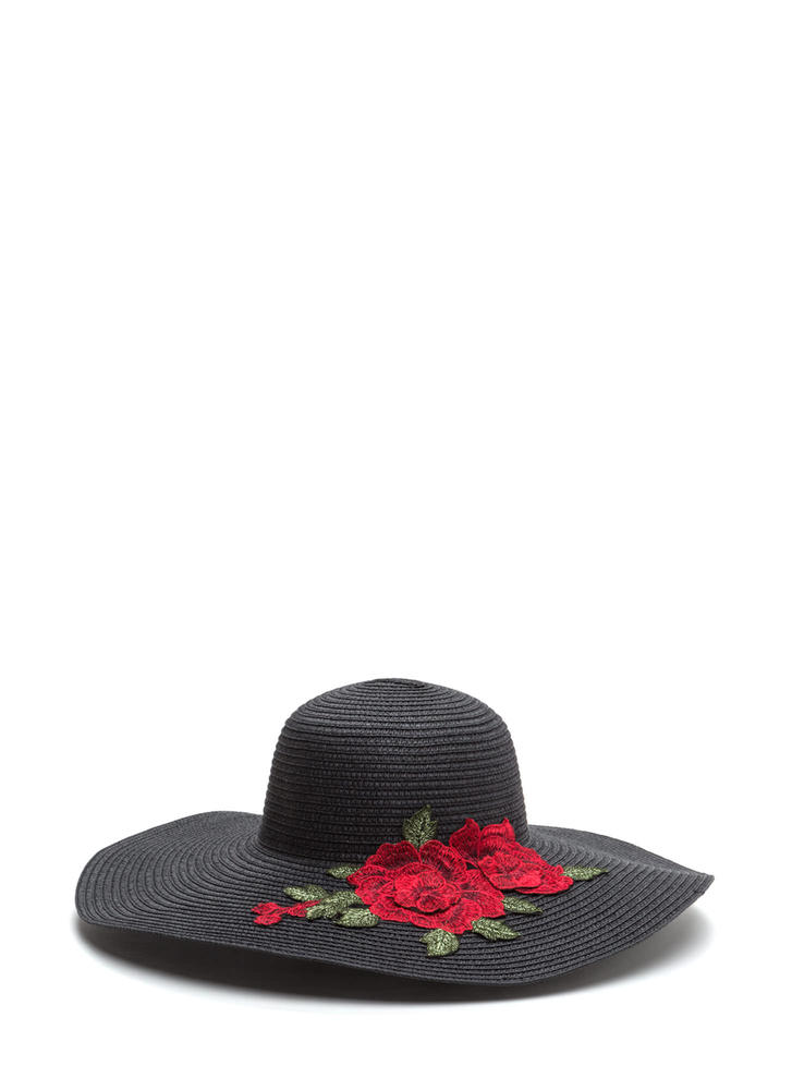Lovely Roses Embroidered Sun Hat