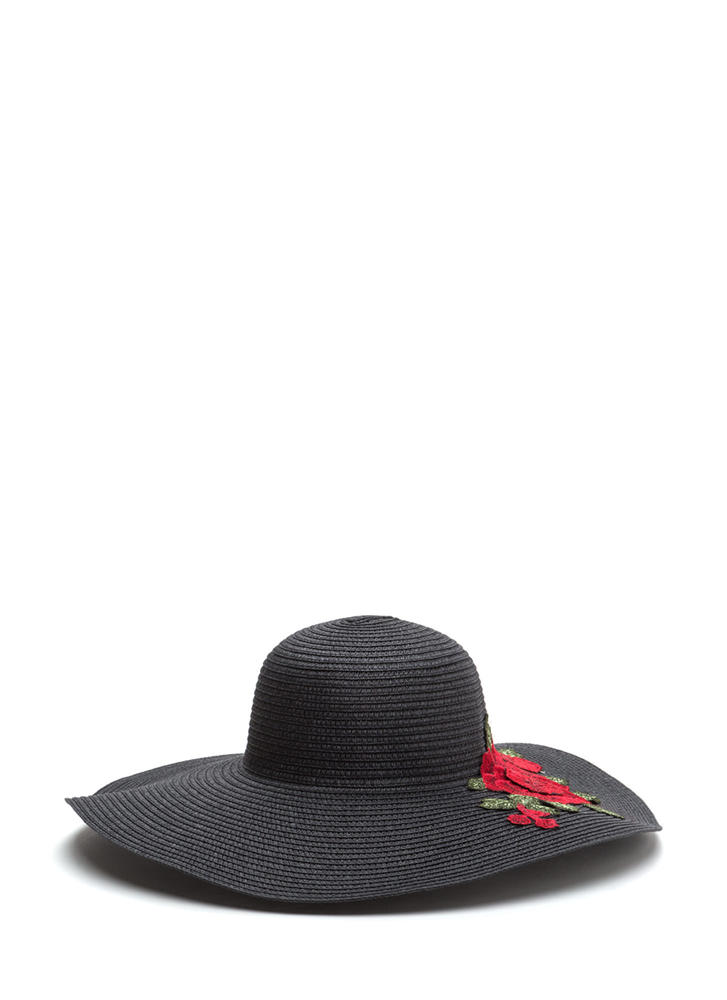 Lovely Roses Embroidered Sun Hat BLACK