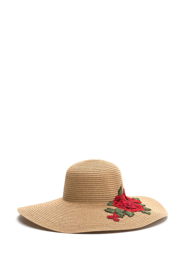 Lovely Roses Embroidered Sun Hat CAMEL