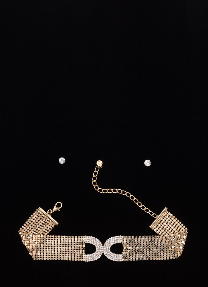 Glitz 'N Glam Faux Jewel Choker Set GOLD