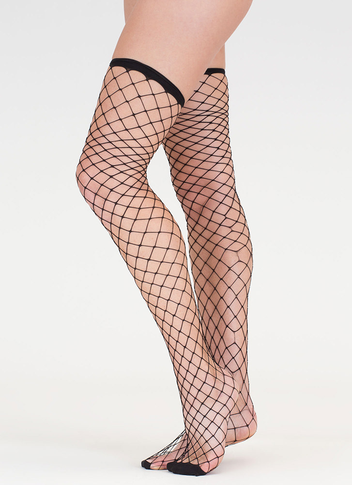 Next Level Fishnet Thigh-High Stockings BLACK (Final Sale)