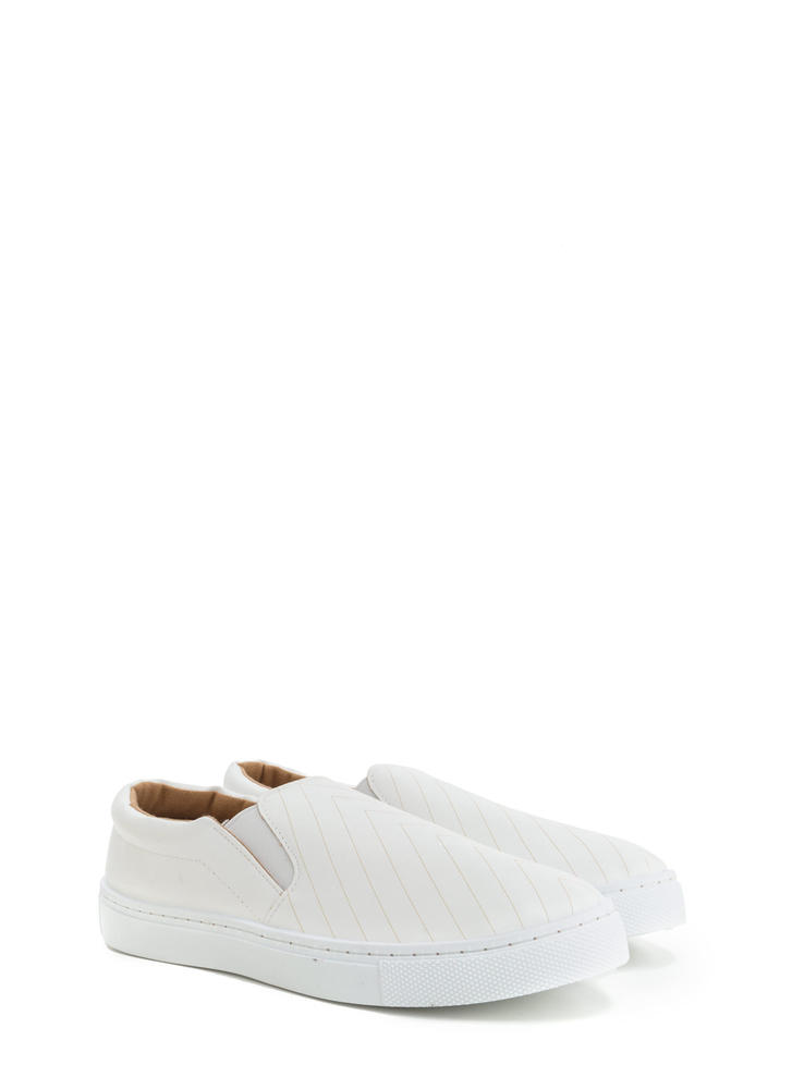 Line By Line Slip-On Sneakers WHITE