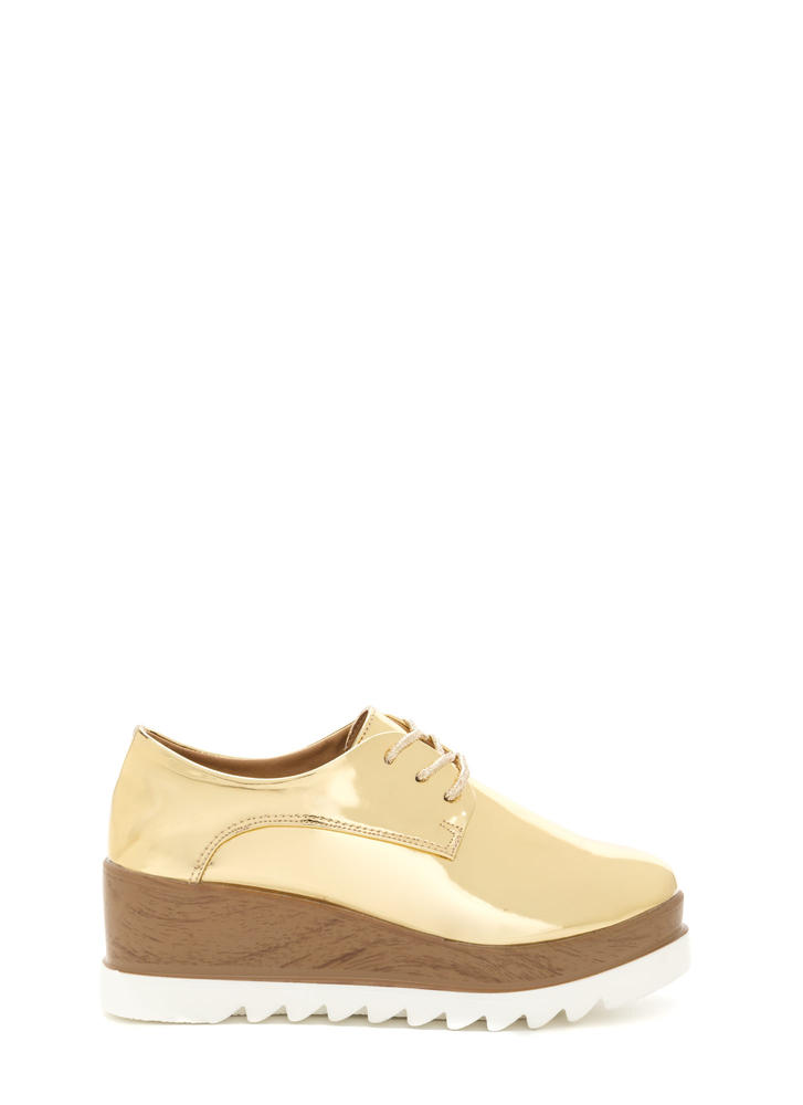 Preppy 'N Glam Shiny Platform Wedges GOLD