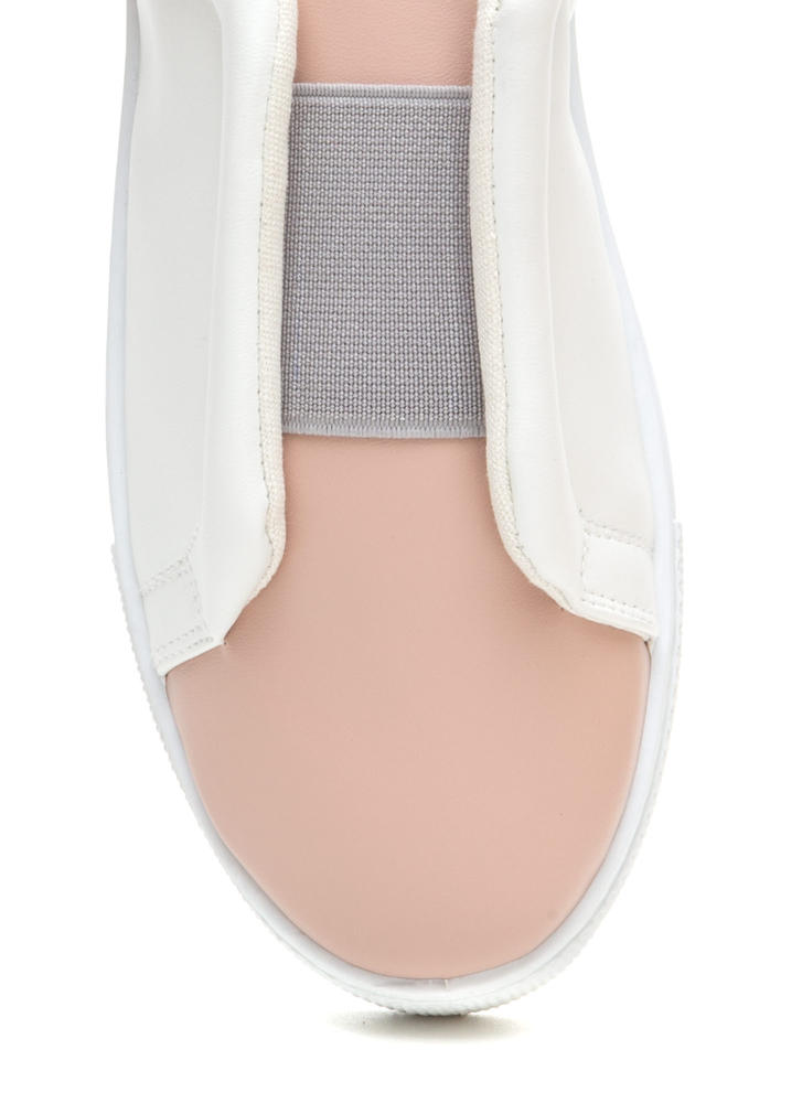 It Pick Two-Tone Slip-On Sneakers WHITE