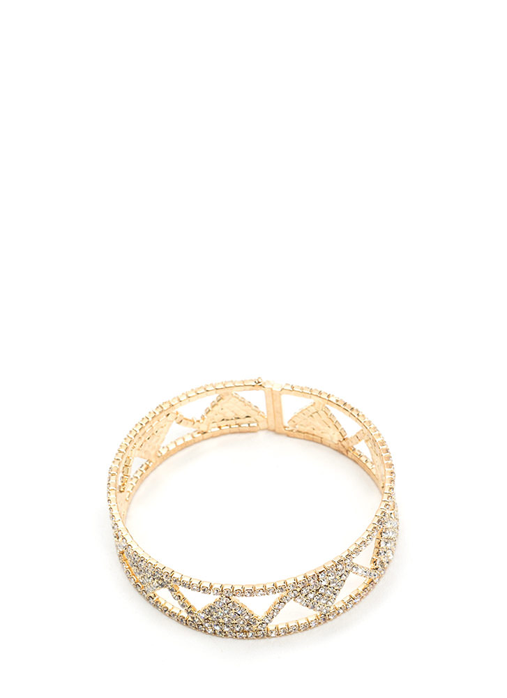 Geo Away Cut-Out Rhinestone Bracelet GOLD