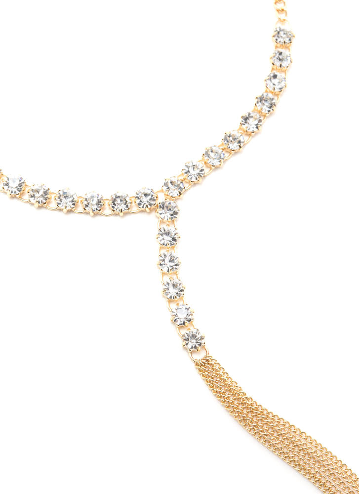Dazzling Style Faux Jewel Y-Necklace GOLD