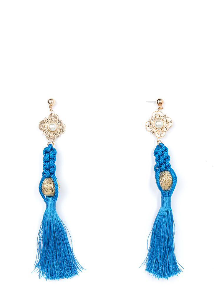 Tasseled Treasure Faux Pearl Earrings BLUE