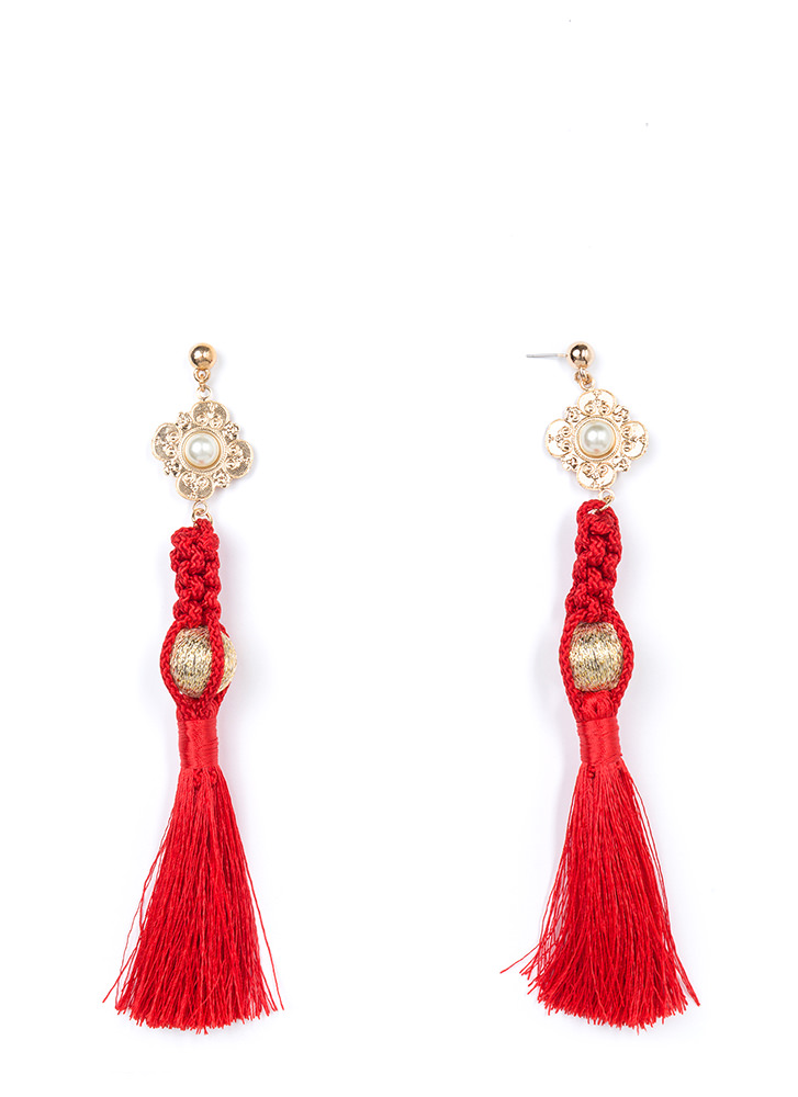 Tasseled Treasure Faux Pearl Earrings RED