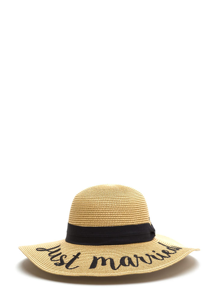 Just Married Embroidered Sun Hat