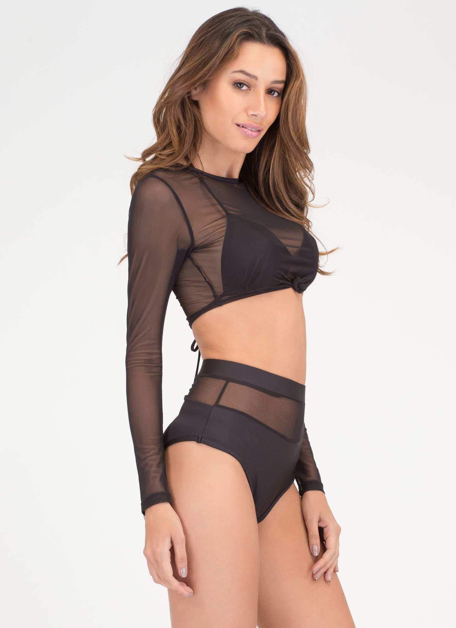 Sheer To Please Three-Piece Bikini Set BLACK (Final Sale)