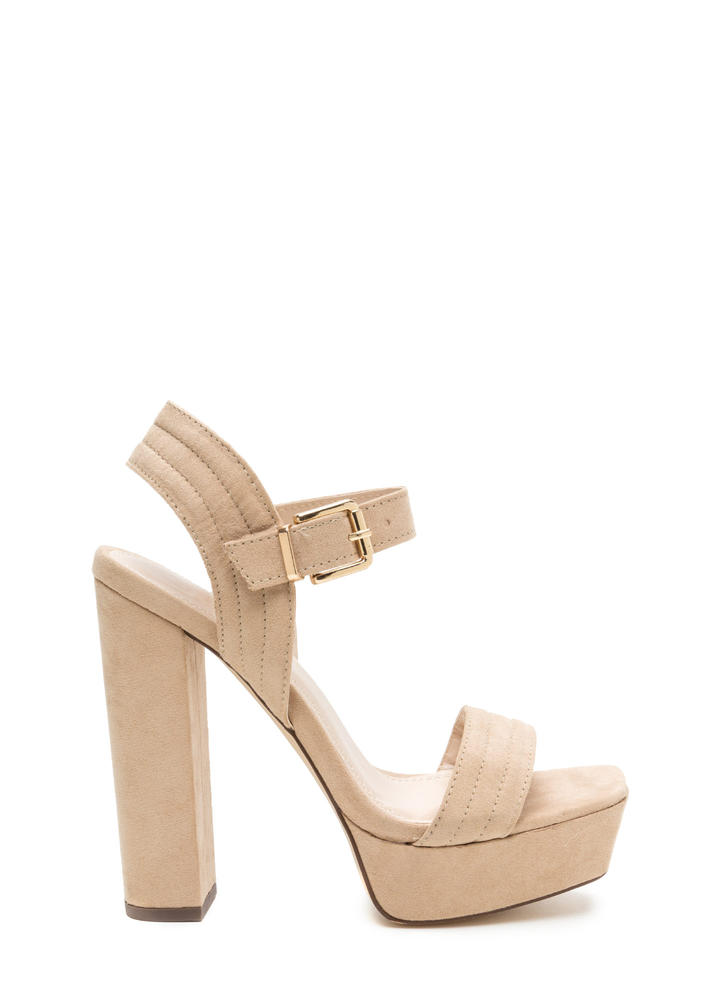 Oh Strappy Day Chunky Faux Suede Heels
