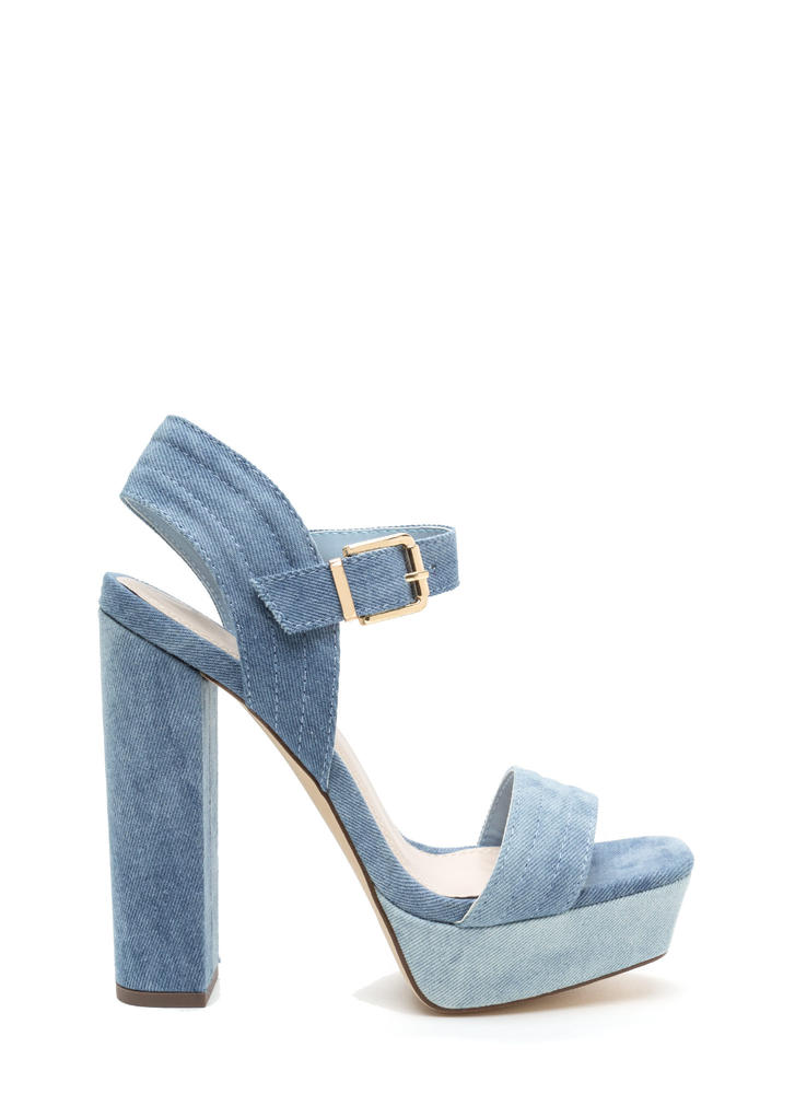 Oh Strappy Day Chunky Denim Heels