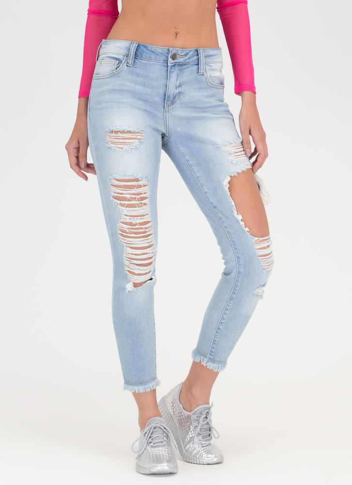 Crop Of Your Game Distressed Jeans LTBLUE