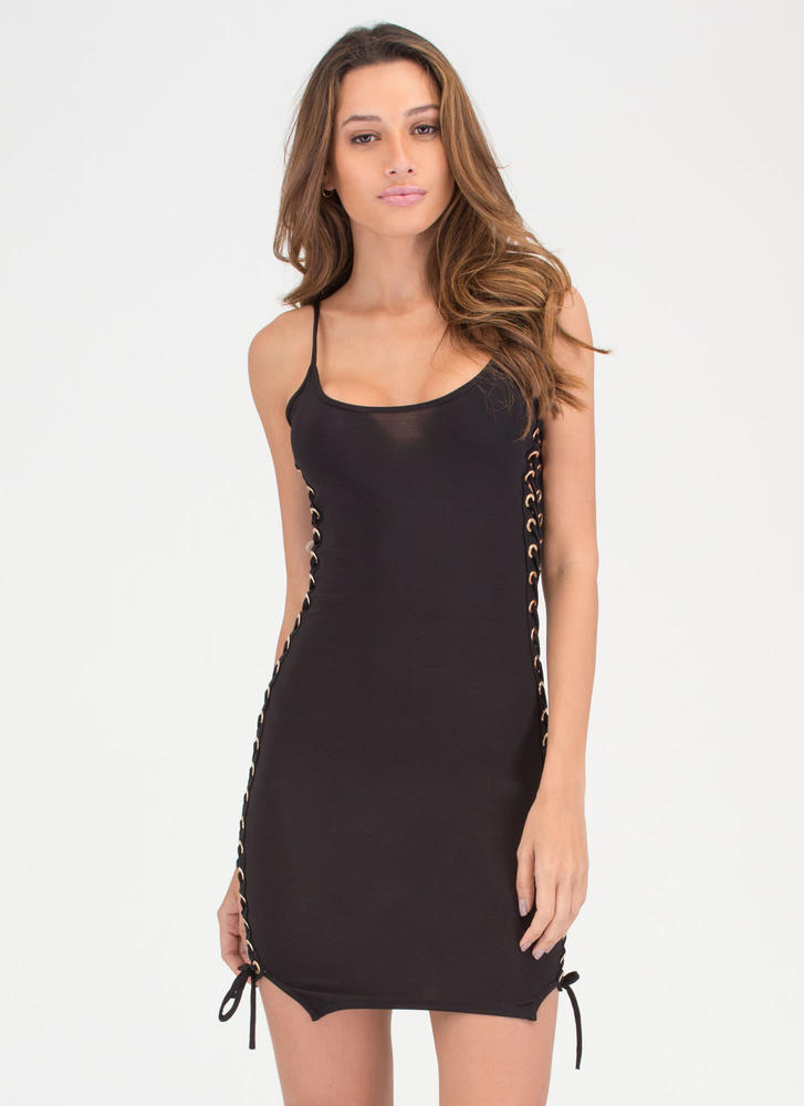 Laced 'N Loaded Cami Minidress BLACK