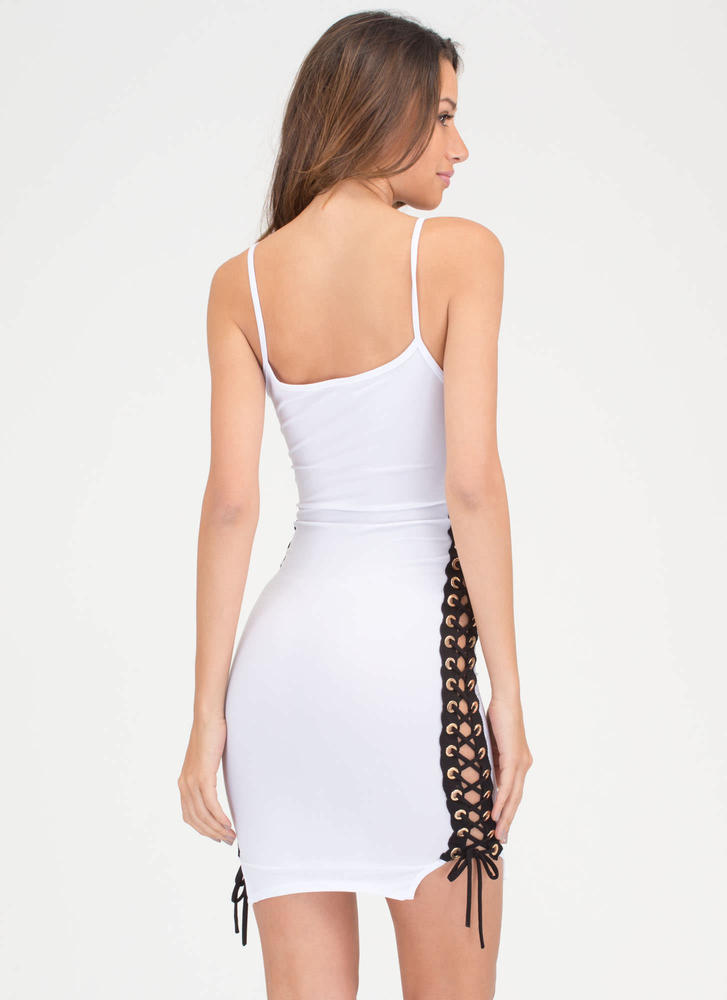 Laced 'N Loaded Cami Minidress WHITE