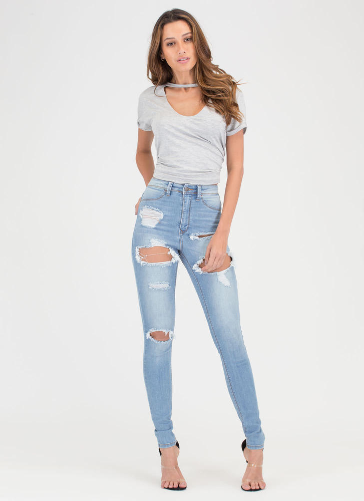 Confident Curves Distressed Skinny Jeans LTBLUE