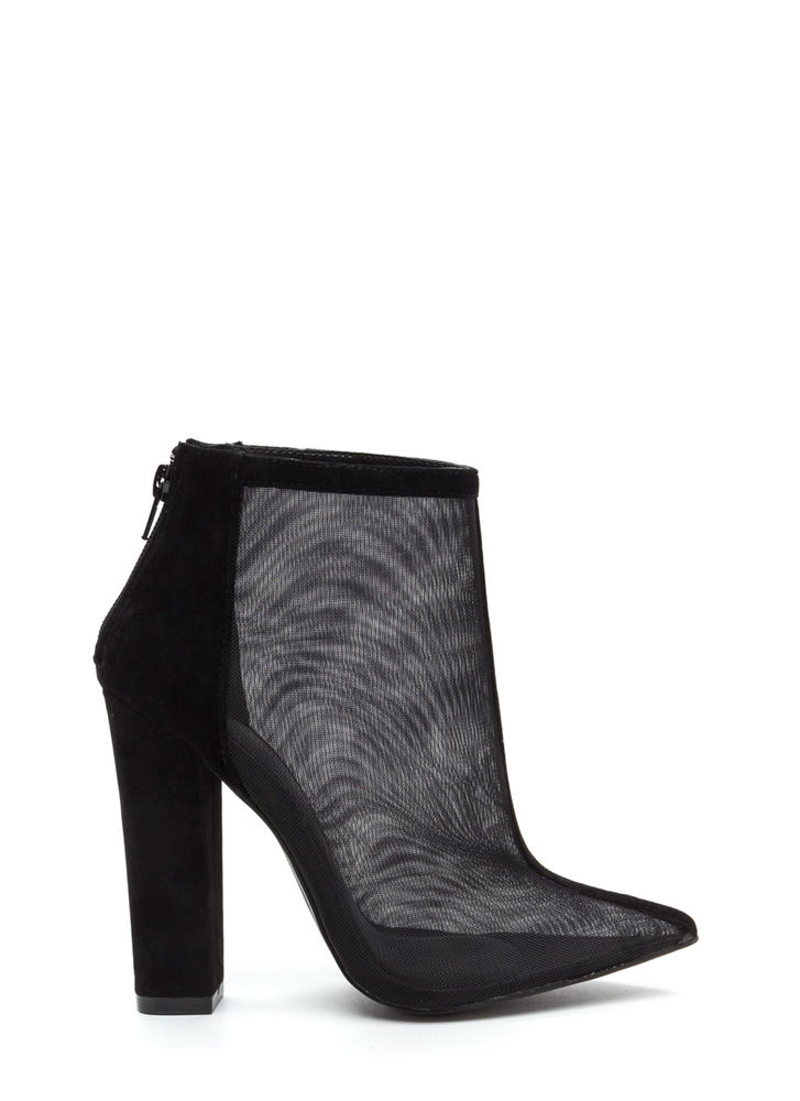 Sheer Perfection Faux Suede Booties BLACK