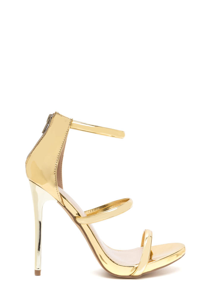 Strappy Decision Metallic Heels