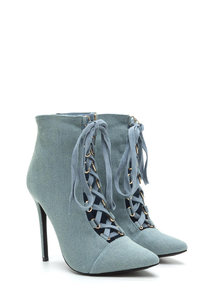 Night Out Chic Lace-Up Booties BLUE