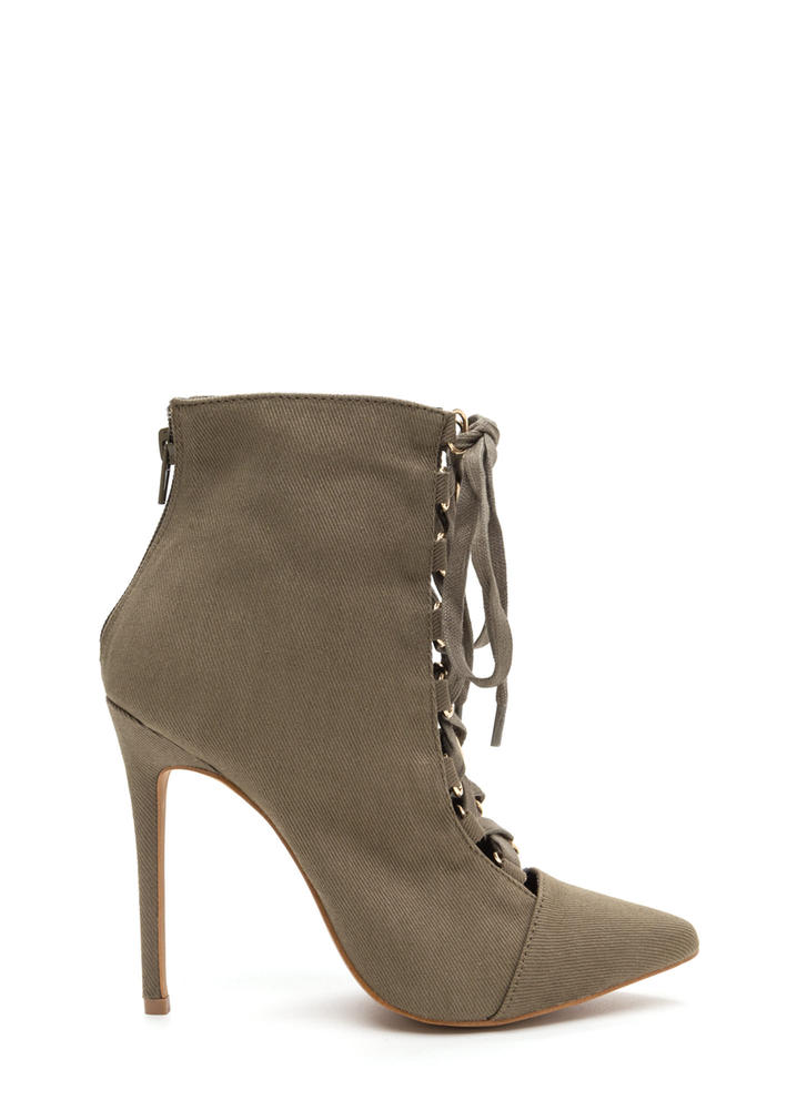 Night Out Chic Lace-Up Booties KHAKI