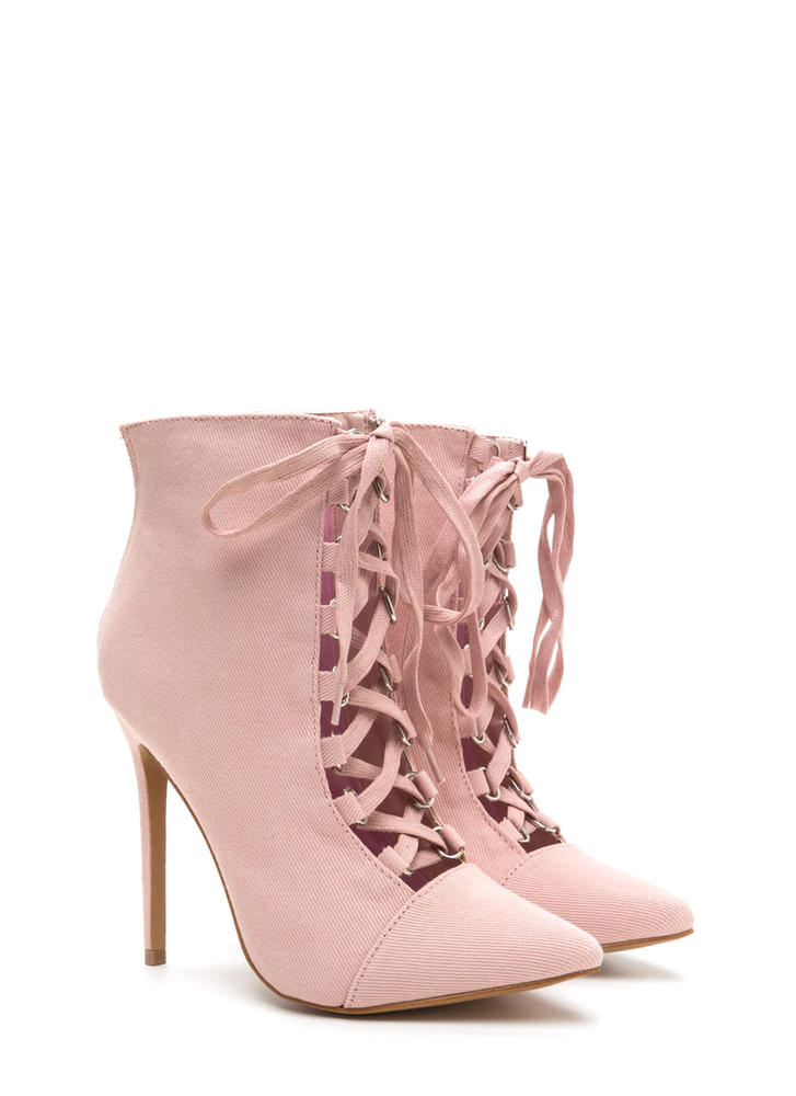 Night Out Chic Lace-Up Booties PINK