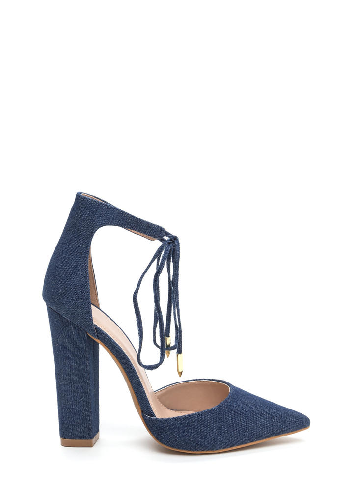 Tied For First Pointy Chunky Denim Heels