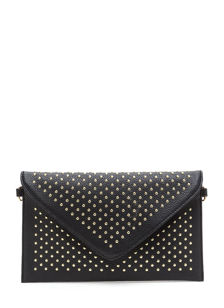 All Nighter Studded Faux Leather Clutch