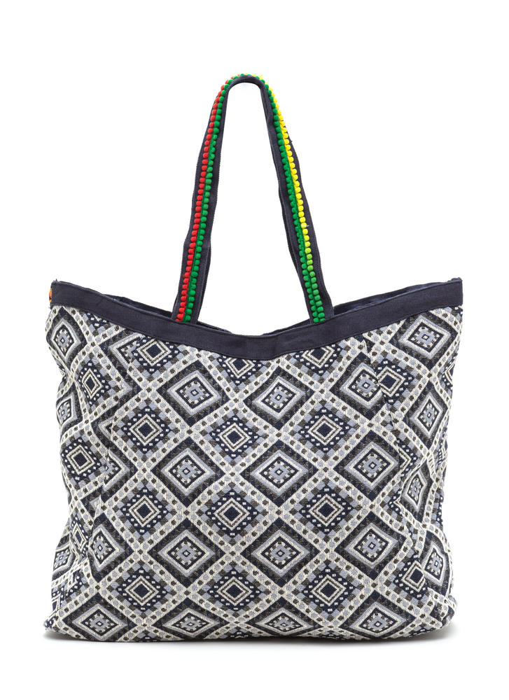 Flashing Lights Oversized Woven Tote Bag NAVY