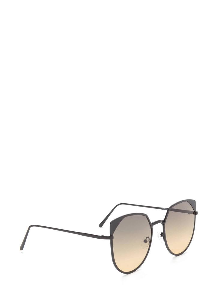 Sunny View Rounded Sunglasses BLACK