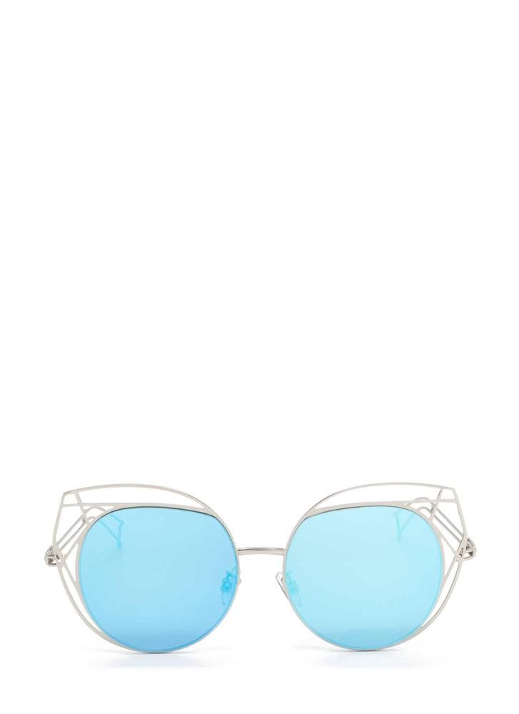 Poolside Stay Cut-Out Round Sunglasses BLUE