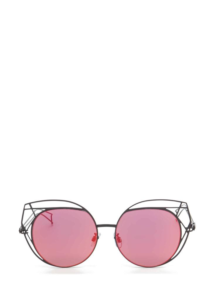 Poolside Stay Cut-Out Round Sunglasses ORANGE