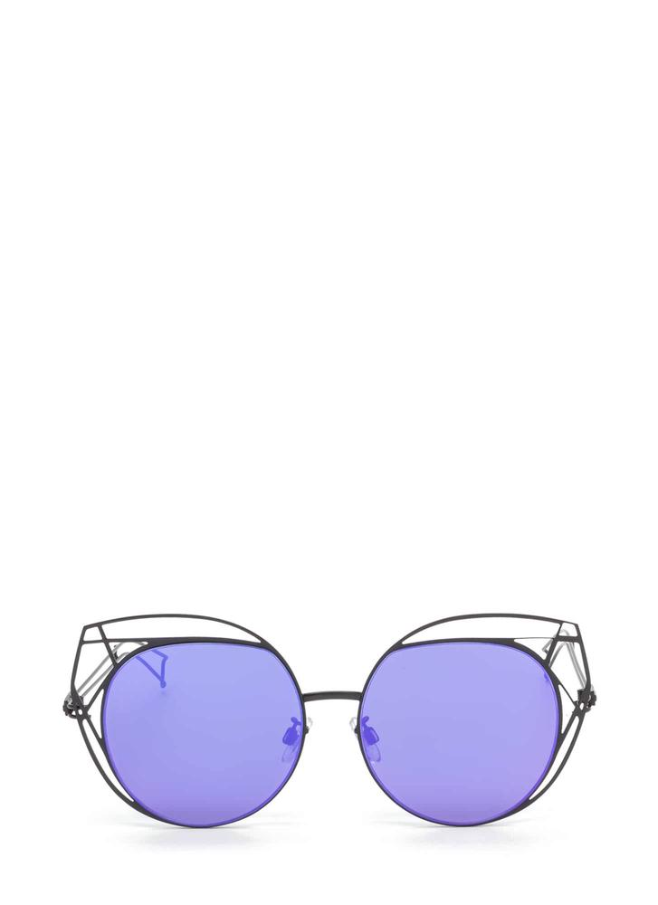 Poolside Stay Cut-Out Round Sunglasses PURPLE