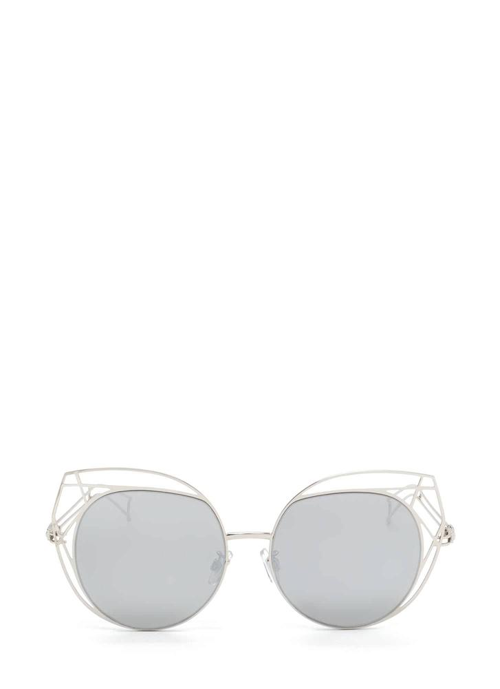 Poolside Stay Cut-Out Round Sunglasses SILVER