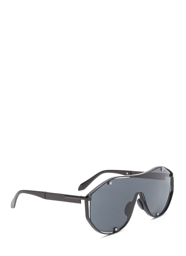 Glam Athlete Shiny Shield Sunglasses BLACKBLACK