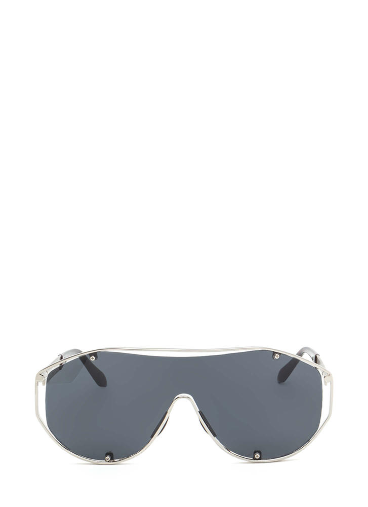 Glam Athlete Shiny Shield Sunglasses BLACKSILVER