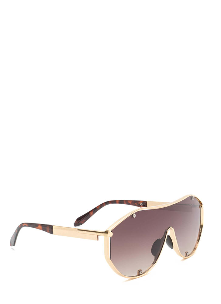 Glam Athlete Shiny Shield Sunglasses BROWNGOLD