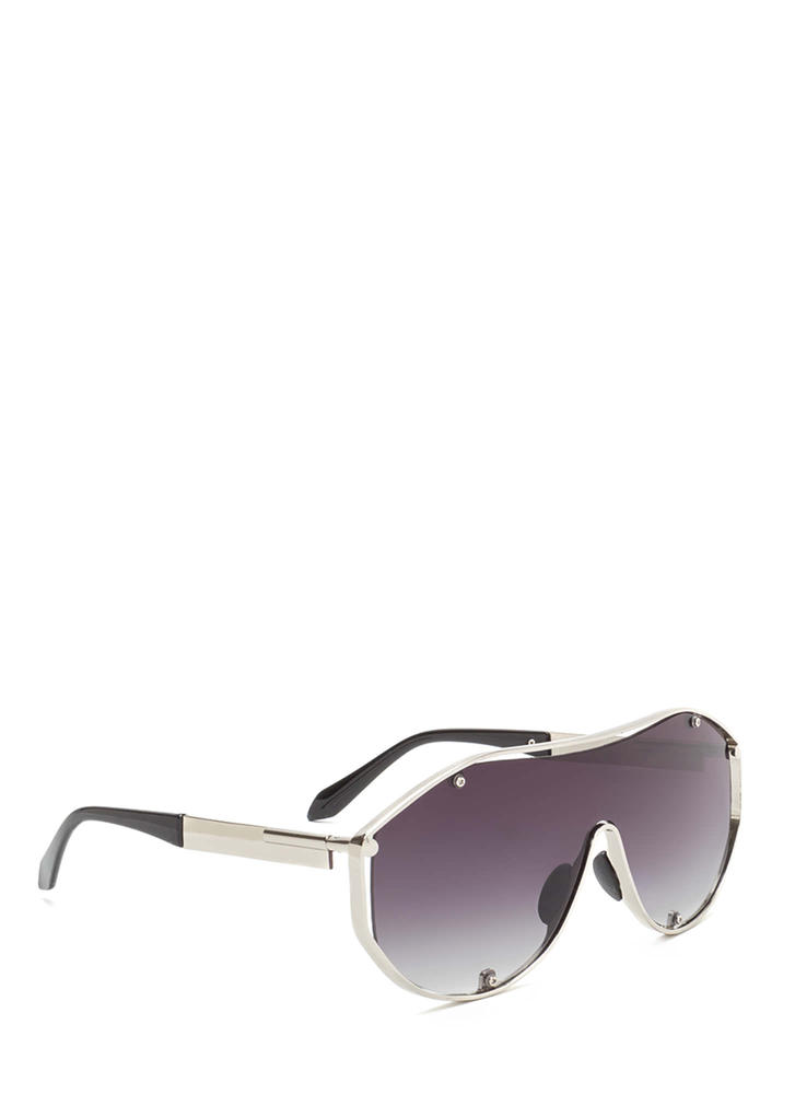 Glam Athlete Shiny Shield Sunglasses GREYSILVER