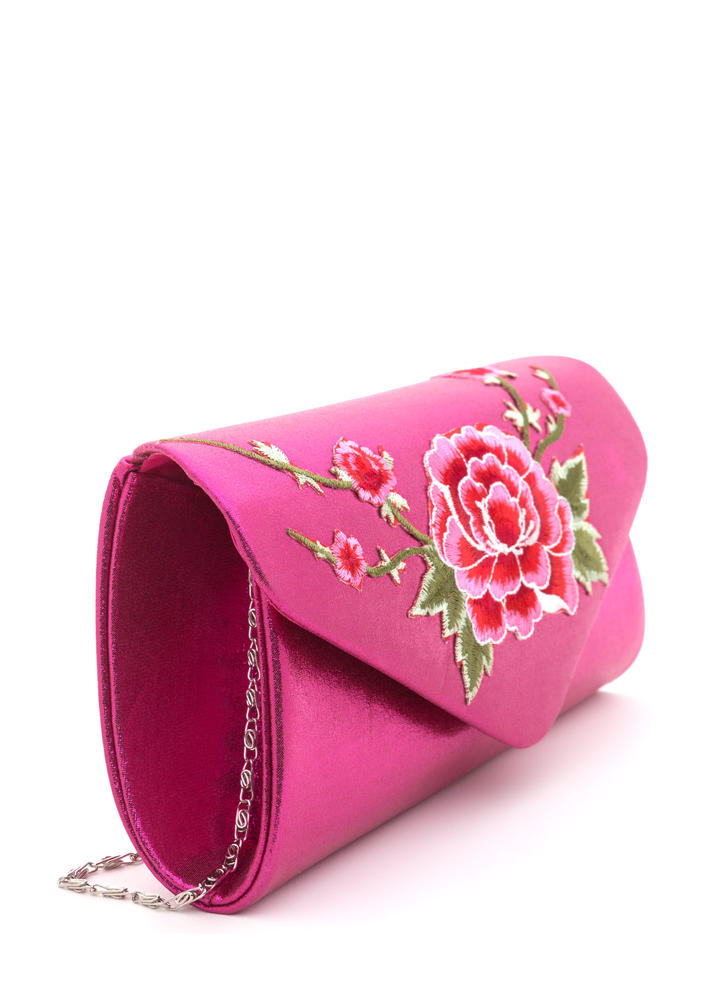 La Vie En Rose Shiny Embroidered Clutch FUCHSIA