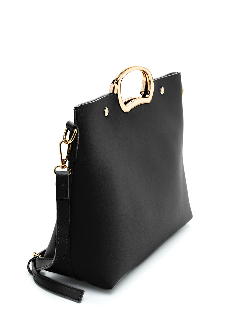 Day To Day Sleek Faux Leather Bag BLACK