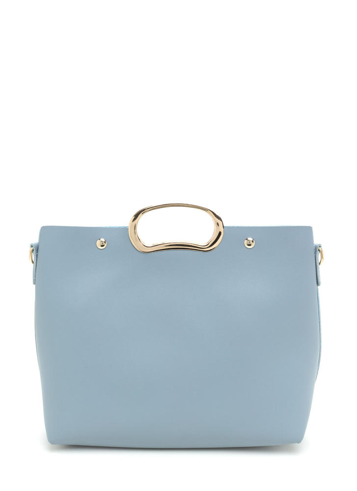 Day To Day Sleek Faux Leather Bag BLUE